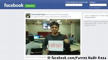 Screenshot Facebook Journalist mit Schild Spion