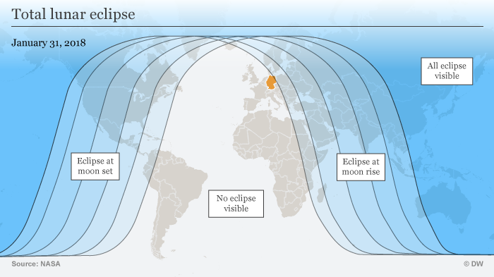 January 31 Lunar Eclipse Map.Once In A Super Blue Blood Moon Three Lunar Phenomena Overlap