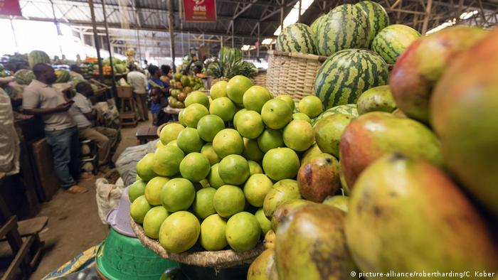 Fruits on display at a market in Rwanda