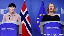 31.01.2018 *** Norway's Foreign Minister Ine Marie Eriksen Soreide and European Union's foreign policy chief Federica Mogherini brief the media at the start of a session of the International Donor Group for Palestine at the EU Commission headquarters in Brussels, Belgium, January 31, 2018. REUTERS/Francois Lenoir