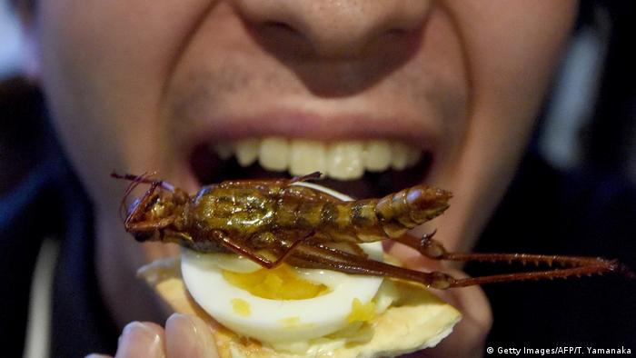A man tries to eat a canape with a fried locust (Getty Images/AFP/T. Yamanaka)