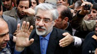 Mir Hossein Mousavi greets his supporters