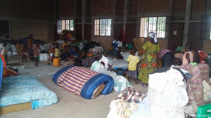 Congolese refugees at a shelter in Burundi
