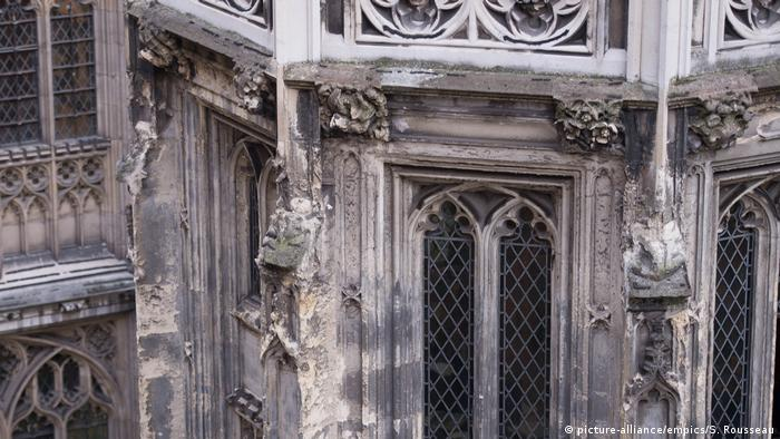 Crumbling stonework on the UK Houses of Parliament