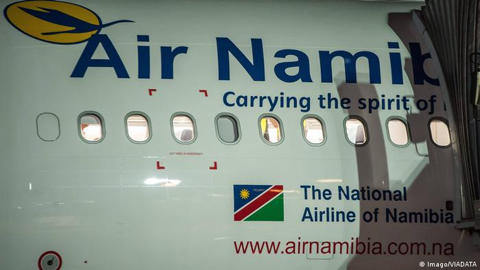 A picture of an airplane from the Air Namibia fleet.