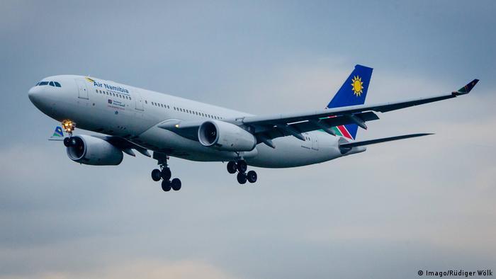 An Air Namibia plane in the air