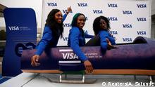 Nigeria's bobsleigh team poses for a photoshoot