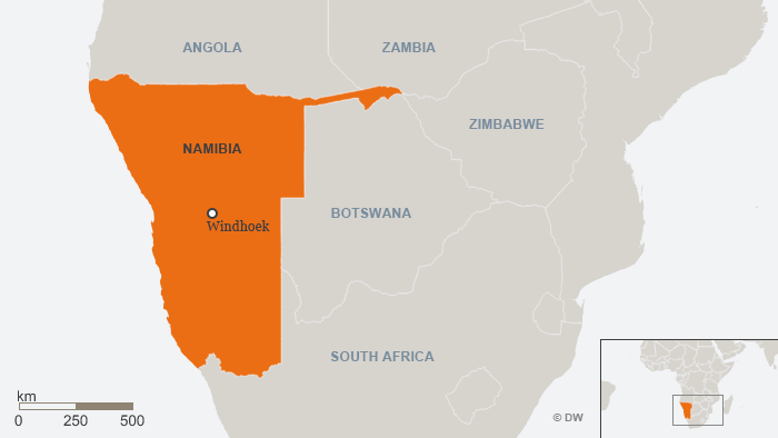 A map of Namibia and neighboring countries.