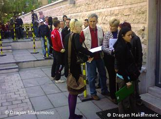 a queue in front of the German embassy in Sarajevo