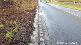 Two rows of cobblestones along the side of the road