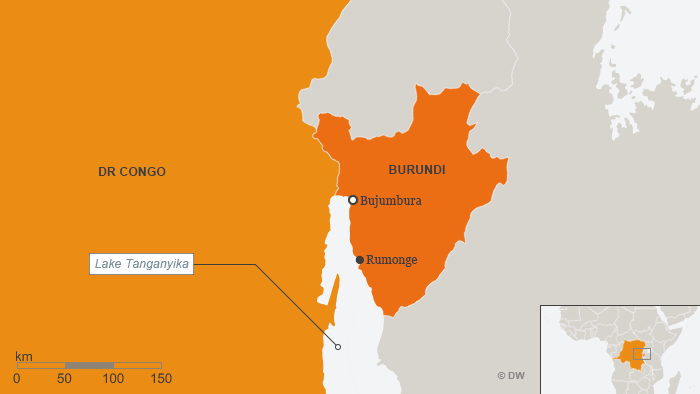 A map showing Burundi and Rumonge