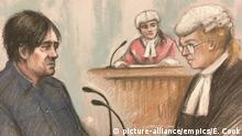 Incident at Seven Sisters. Court artist sketch by Elizabeth Cook of Darren Osborne in the witness box with Defence barrister Lisa Wilding QC (right) at Woolwich Crown Court in London where denies murder and attempted murder after driving a van into worshippers. Picture date: Tuesday January 30, 2018. Darren Osborne deliberately mowed down worshippers in north London using a van shortly after 12.15am on June 19 last year, prosecutors have alleged. See PA story COURTS Finsbury . Photo credit should read: Elizabeth Cook/PA Wire URN:34722039  
