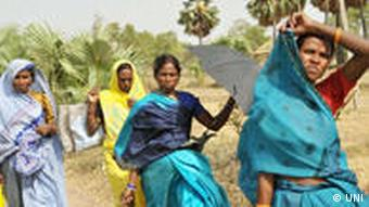 Village women going to cast their votes at Chamari Village in naxal area in Gaya in Bihar