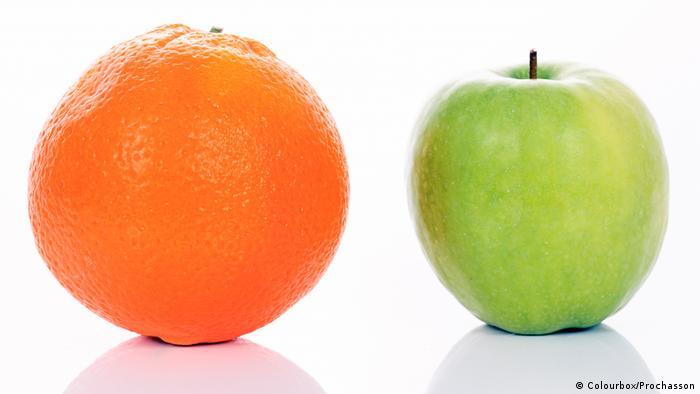 Apple next to orange (Colourbox/Prochasson)