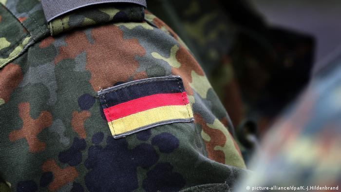 A German army, Bundeswehr, soldier wearing a badge