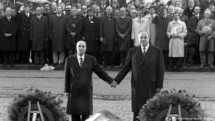 German Chancellor Helmut commemorating WWI with French President François Mitterrand in Verdun on September 25, 1984