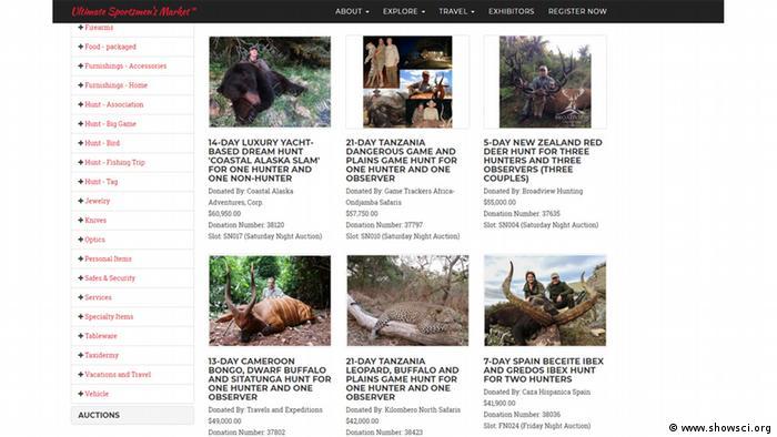 Screenshot Webseite Safari Club International Jagdreisen