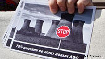 Eine Frau demonstriert gegen den geplanten Bau eines AKW in Kaliningrad (Foto: RIA Novosti )