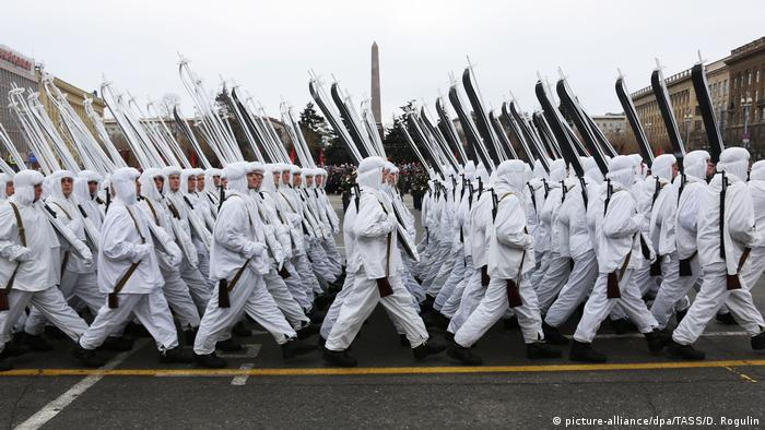 Servicemen take part in a military parade marking the 75th anniversary of the victory in the WWII Battle of Stalingrad.