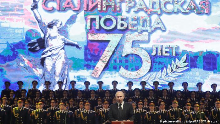 Russia's President Vladimir Putin attends an event marking the 75th anniversary of the victory in the Battle of Stalingrad.