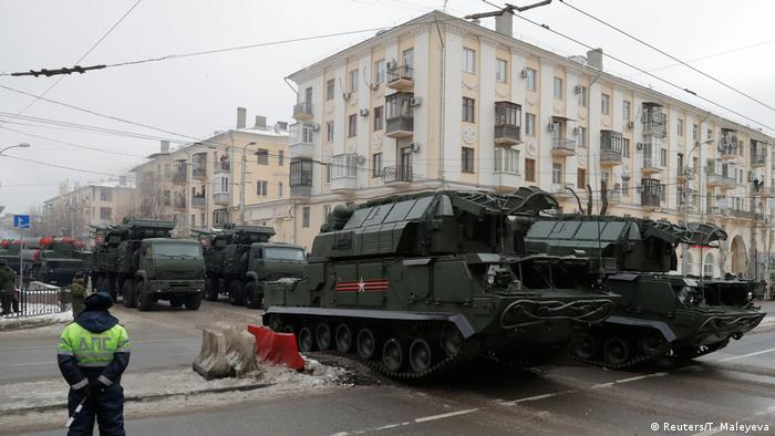 Russian Tor-M2 surface-to-air missile systems drive during the military parade to commemorate the 75th anniversary of the battle of Stalingrad in World War Two, in the city of Volgograd, Russia