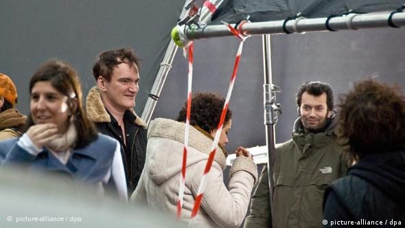 Quentin Tarantino on the set of 'Inglourious Basterds' in Paris in December 2008