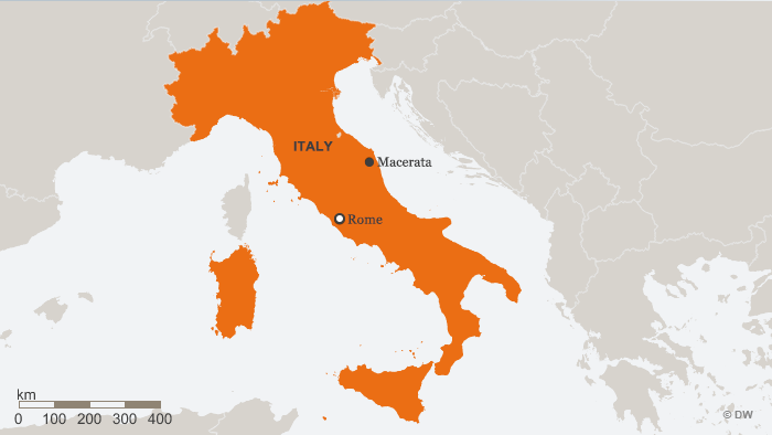 Map of Italy shows Macerata in relation to Rome