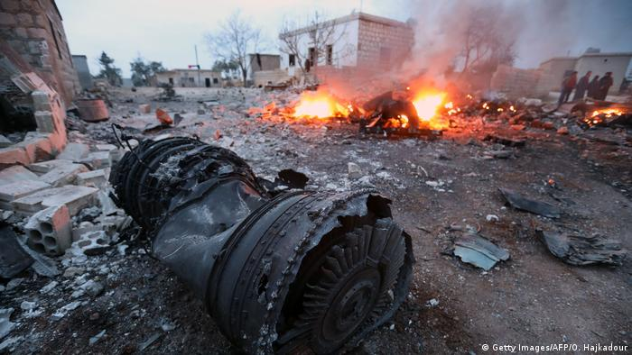 The Russian Su-25 fighter jet shot down over Idlib, Syria in February 2018 (Getty Images/AFP/O. Hajkadour)