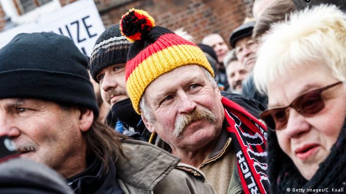 A protest against the high number of Muslim refugees who have moved to Cottbus over the past two years on February 3, 2018 in Cottbus, Germany.