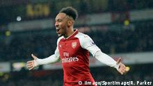 Pierre Emerick Aubameyang of Arsenal celebrates scoring his goal to make it 4-0 during the premier league match at the Emirates Stadium, London. Picture date 3rd February 2018. Picture credit should read: Robin Parker/Sportimage PUBLICATIONxNOTxINxUK DSC_0142.JPG