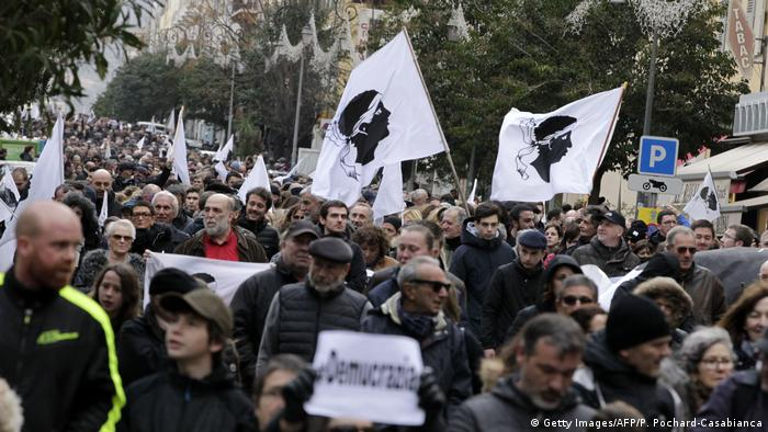 A nationalist demonstration on the French island of Corsica