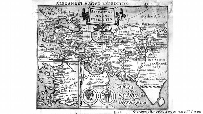 A 17th century map showing the extent of Alexander the Great's empire (picture alliance/Glasshouse Images/JT Vintage)