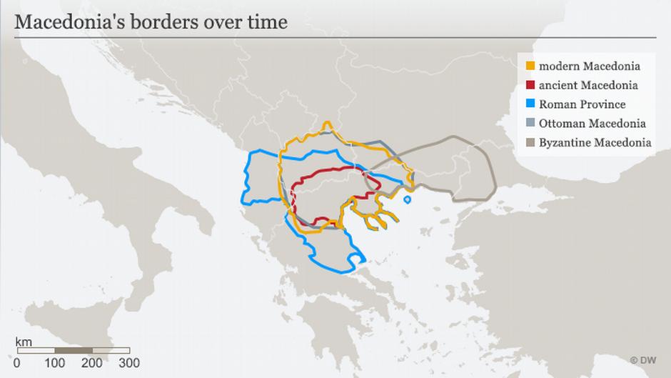 Karte Mazedoniens Grenzen im Lauf der Zeit ENG