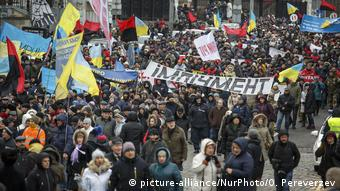 Kiev Anti Poroschenko Demonstration (picture-alliance/NurPhoto/O. Pereverzev)