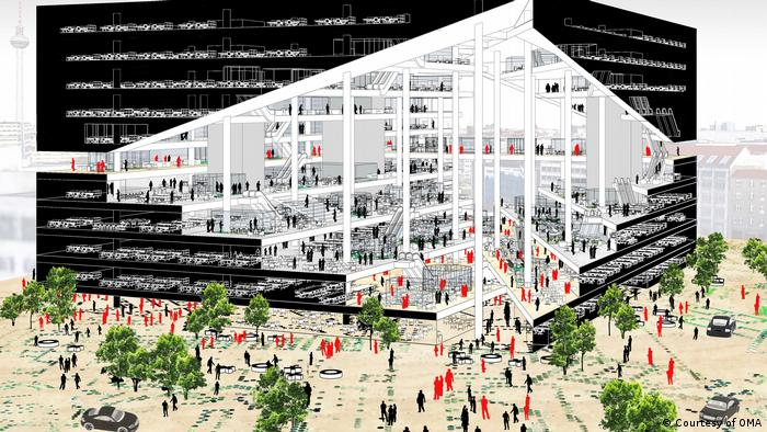 A drawing of the the German national pavilion back in 2018 with black exterior, white interior, and trees and people in front.