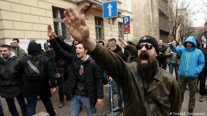 Kundgebung der Unterstützter des ehemaligen serbischen Premierministers Milan Nedić in Belgrad