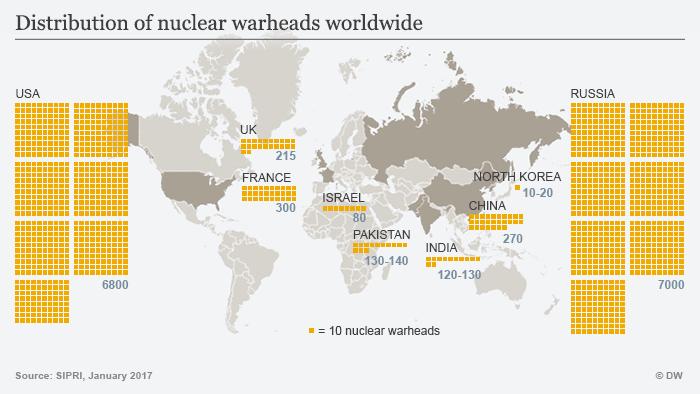 Infografik Karte Atomwaffen weltweit ENG