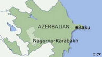 The map of Nagorno-Karabakh within Azerbaijan