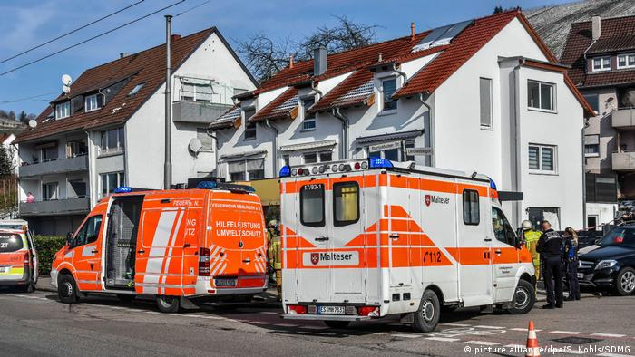 Ambulances outside the Esslingen house where a family of four was found dead