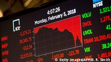 05.02.2018+++ The closing numbers are displayed after the closing bell of the Dow Industrial Average at the New York Stock Exchange on February 5, 2018 in New York. Wall Street stocks endured a brutal session Monday, with the Dow seeing one of its steepest ever one-day point drops, as the heady bullishness of early 2018 gave way to extreme volatility. / AFP PHOTO / Bryan R. Smith (Photo credit should read BRYAN R. SMITH/AFP/Getty Images)