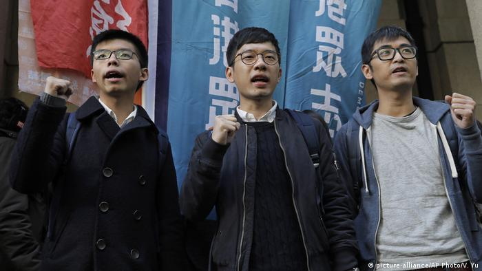 Joshua Wong, Nathan Law, Alex Chow (picture-alliance/AP Photo/V. Yu)