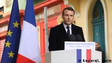 French President Emmanuel Macron delivers a speech during a ceremony in tribute to the slain French prefect Claude Erignac in Ajaccio, on the French Mediterranean island of Corsica, France, February 6, 2018 as part of his two-day visit in Corsica. REUTERS/Ludovic Marin/Pool