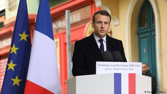 Emmanuel Macron delivers a speech
