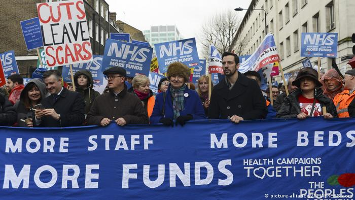 NHS protesters in London demanding more staff and funds