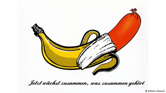 Klaus Staeck's image of a banana and meat sausage, 1990 (Edition Staeck)