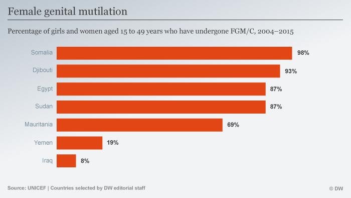 Infografik Vorkommen FGM in einigen Ländern ENG