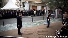 French President Emmanuel Macron pays his respect during a ceremony in tribute to the slain French prefect Claude Erignac, who was shot dead on the island 20 years ago by pro-independence activists, in Ajaccio, on the French island of Corsica, France, February 6, 2018 as part of his two-day visit in Corsica. REUTERS/Kamil Zihnioglu/Pool