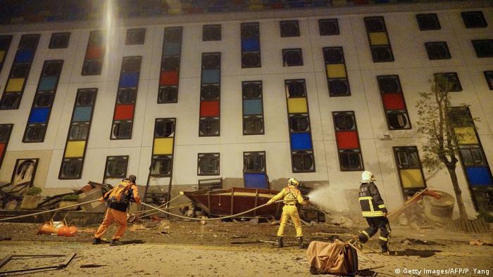 Hualien'deki Marshal Oteli kısmen çöktü, binanın alt katları enkaz halinde.