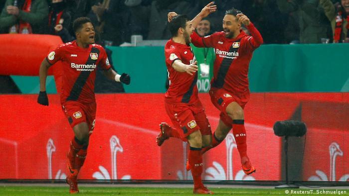 Bayer Leverkusen vs Werder Bremen — BayArena, Leverkusen, Germany — February 6, 2018. Bayer Leverkusen's Karim Bellarabi celebrates scoring their third goal with Kevin Volland and Leon Bailey. Photo: REUTERS/Thilo Schmuelgen.