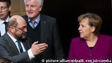 Koalitionsverhandlungen von Union und SPD Schulz Merkel